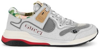 Gucci Ultrapace Silver Glittered Leather Sneakers