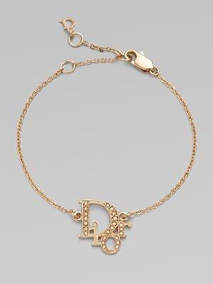 Christian Dior Jeweled Logo Strass Bracelet/Gold