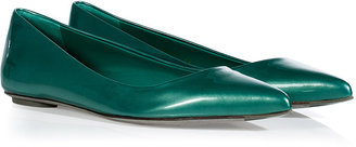 Sergio Rossi Pearly Turquoise Patent Leather Pointy Toe Flats