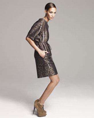 Lanvin Belted Leopard-Jacquard Shift Dress