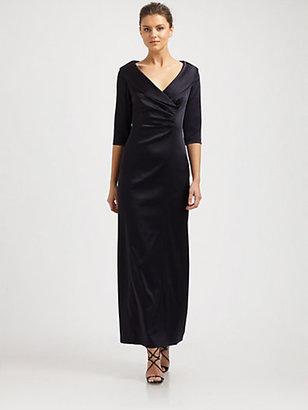 Kay Unger Satin Shawl Collar Gown