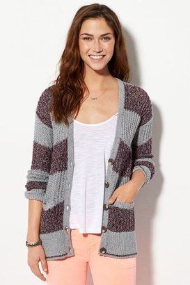 American Eagle Outfitters Grey Open Ribbed Cardigan, Womens Large