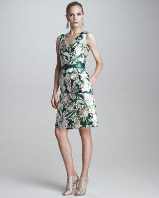 Oscar de la Renta V-Neck Faux-Wrap Dress
