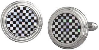 Johnston & Murphy Onyx Mother-Of-Pearl Checkerstep Cufflinks
