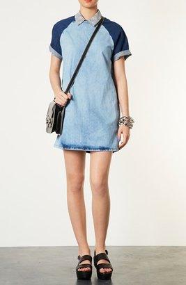 Topshop Contrast Sleeve Denim Dress