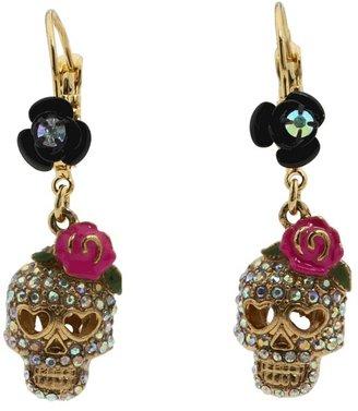 Betsey Johnson Betsey Vampire Crystal Skull Earrings Earring