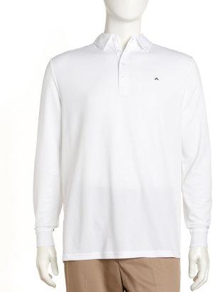J. Lindeberg Vilde Long-Sleeve Mesh Golf Shirt, White