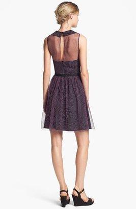 Betsey Johnson Textured Dot Mesh Fit & Flare Dress