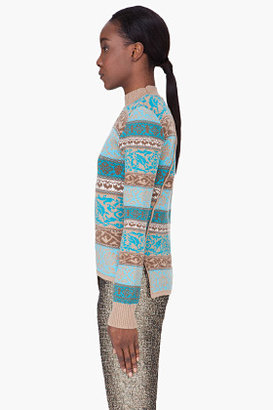 Matthew Williamson Teal Knitted Wool Sweater