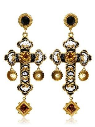 Dolce & Gabbana Medium Cross Drop Earrings