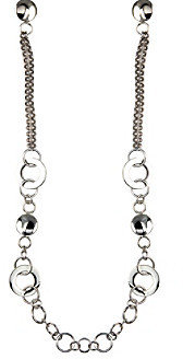 "Nine West 32"" Silvertone Long Stationed Necklace"