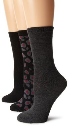 Anne Klein Women's Three-Pair Pack Leopard Crew Socks
