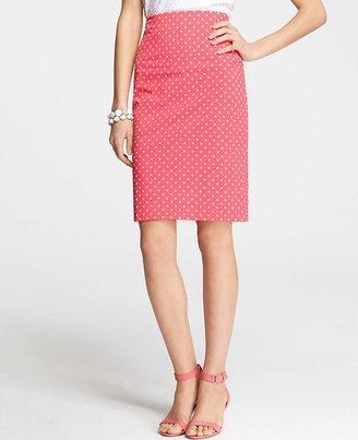 Ann Taylor Tall Summer Dot Print Stretch Cotton Pencil Skirt