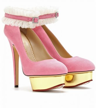 Charlotte Olympia DOLLY PLATFORM PUMPS WITH RUFFLED ANKLETS