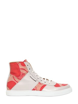 Marc Jacobs Leather & Printed Canvas Sneakers