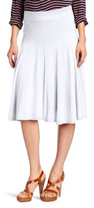 Three Dots Red Women's Double Layer Tea Length Skirt