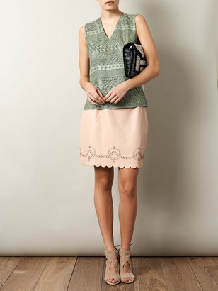 Raoul Sandy laser-cut leather skirt