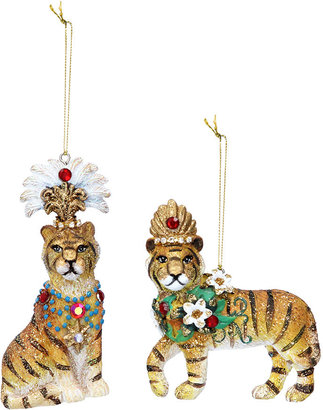 Gisela Graham - Tiger Tree Decoration - Set of 2