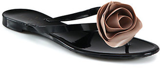 Valentino Rose-Detail Thong Sandals