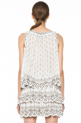 Isabel Marant Amanda Studded Cotton Crepe Halter in Blanc