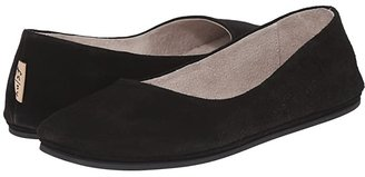 French Sole Sloop Flat (Black Suede) Women's Flat Shoes