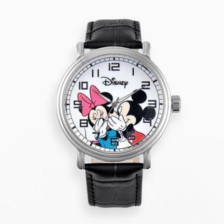 Disney Disney's Mickey & Minnie Mouse Men's Leather Watch