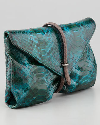 VBH Busta Python Clutch Bag, Peacock