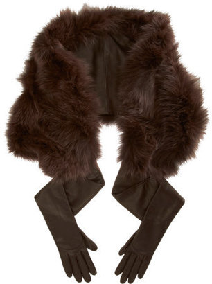Nina Ricci Fur Shawl and Leather Gloves