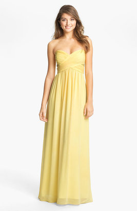 Max & Cleo Strapless Chiffon Gown