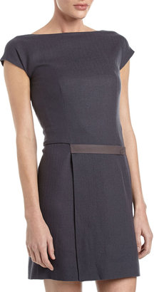 Cacharel Belted Cap-Sleeve Dress, Gray