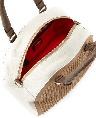 Christian Louboutin Panettone Small Studded Satchel Bag, Brown/White