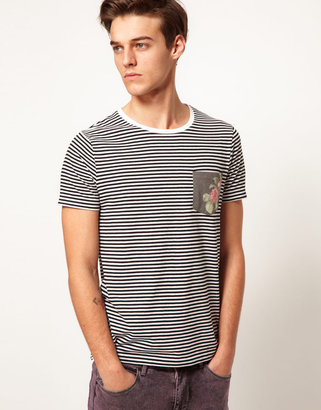Asos Stripe T-Shirt With Floral Print Pocket