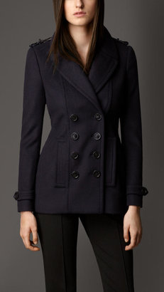 Burberry Leather Detail Wool Cashmere Pea Coat