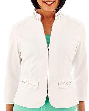 JCPenney Lark Lane® Embellished Zip-Front Twill Jacket