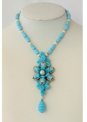 Miriam Haskell pristine (PR Vintage Blue Glass Bead and Pearl Pendant Necklace