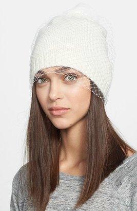 BCBGMAXAZRIA 'Winter Veil' Beanie with Genuine Fur Pompom
