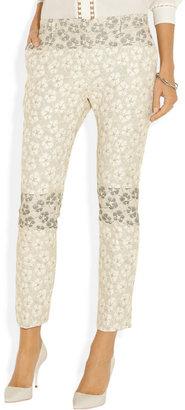 Michael Van Der Ham Floral-jacquard straight-leg pants