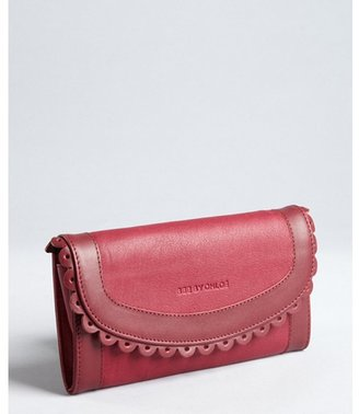 See by Chloe burgundy leather doily detail snap flap continental wallet