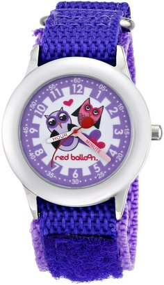 EWatchFactory Red Balloon Kids' W000334 Love Owl Stainless Steel Time Teacher Purple Velcro Strap Watch