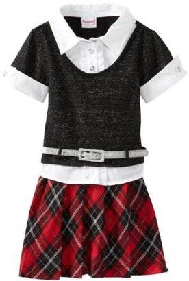 Nannette Girls 2-6X 1 Piece Patterned Plaid Dress