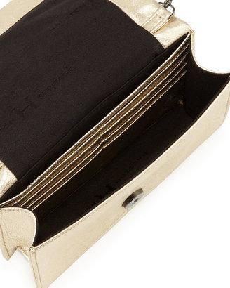 Halston Metallic Leather Crossbody Bag, Gold