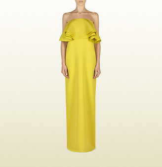 Gucci Lime Silk Strapless Gown With Flounce