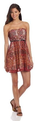 My Michelle Sequin Hearts by Juniors 33 Inch Strapless Belted Dress