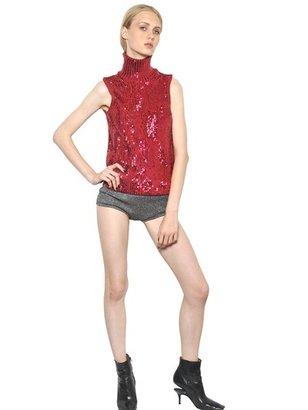 Maison Martin Margiela Sequined Cotton Knit Funnel Neck Top