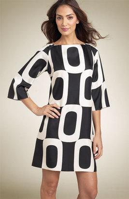 Maggy London Print Silk Twill Shift Dress