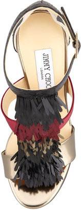 Jimmy Choo Fedora Fringe Mixed-Media Sandal, Claret