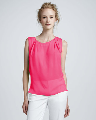 Alice + Olivia Gladys Pleated-Shoulder Top