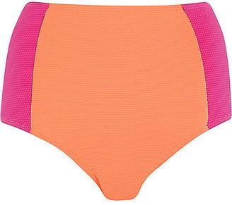 River Island Womens Pink color block high waisted bikini bottoms