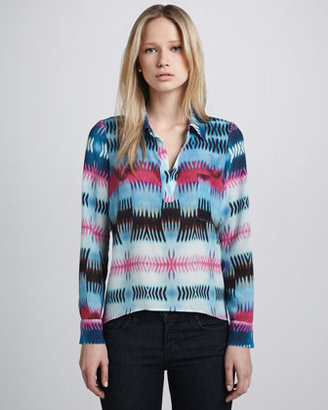 Neiman Marcus Cusp by Arched Silk Blouse
