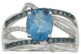 JCPenney London Blue Topaz & Lab-Created White Sapphire Wrap Ring
